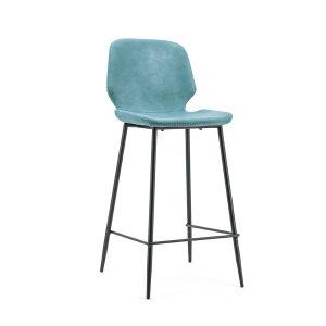 Barkruk industrieel met rugleuning Seashell By-Boo vaste zithoogte 65cm blauw kunstlederen zitting en metaal frame