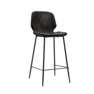 Barkruk industrieel met rugleuning Seashell By-Boo kunstlederen zitting en metaal frame vaste zithoogte 65cm zwart