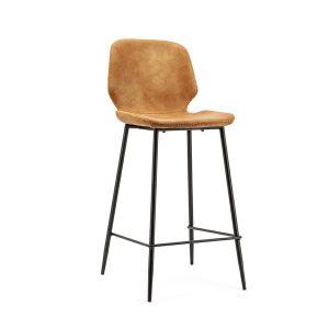 Barkruk industrieel met rugleuning Seashell By-Boo vaste zithoogte 65cm cognac kunstlederen zitting en metaal frame