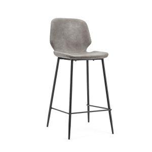 Barkruk industrieel met rugleuning Seashell By-Boo vaste zithoogte 65cm grijs kunstlederen zitting en metaal frame