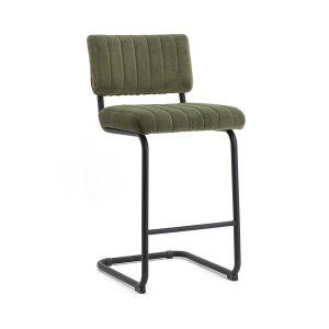Retro barkruk Operator By-Boo vaste zithoogte 68cm met rugleuning groen stof bekleding en metaal frame