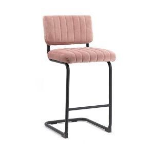 Retro barkruk Operator By-Boo vaste zithoogte 68cm roze stof bekleding met rugleuning en metaal frame