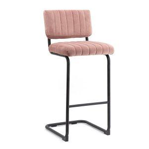 Retro barkruk Operator By-Boo vaste zithoogte 77cm met rugleuning roze stof bekleding en metaal frame