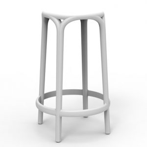 Barkruk Brooklyn wit polypropylene zithoogte 66cm zonder rugleuning