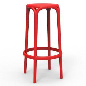 Barkruk Brooklyn rood polypropylene zithoogte 76cm zonder rugleuning