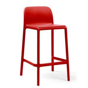 Barkruk Faro rood polypropylene vaste zithoogte 65cm met rugleuning