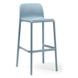 Barkruk Faro hemelsblauw polypropylene met rugleuning zithoogte 76cm