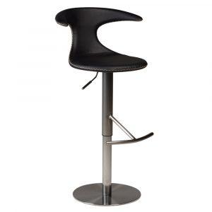 Barkruk Flair in hoogte verstelbaar zwart leren zitting en staal frame met rugleuning