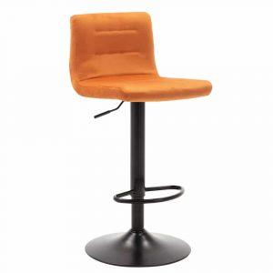 Barkruk met rugleuning Holst oranje velours zitting en zwart gelakt metaal frame in hoogte verstelbaar