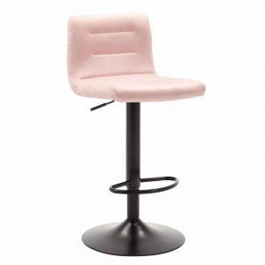 Barkruk Holst zwart gelakt metaal frame roze velours bekleding in hoogte verstelbaar met rugleuning