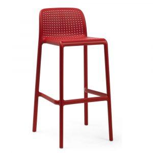 Barkruk Lido polypropylene rood zithoogte 76 cm met rugleuning