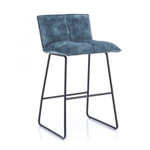 Barkruk Ruby by Eleonora blauw stof zitting en zwart metaal frame vaste zithoogte 64cm met rugleuning