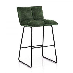 Barkruk Ruby by Eleonora groen stof zitting en metaal frame vaste zithoogte 64cm met rugleuning