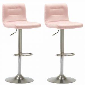 Barkrukken Holst satijn frame roze velours zitting in hoogte verstelbaar met rugleuning set van 2