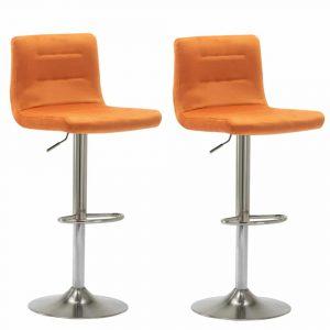 Barkrukken Holst satijn frame oranje velours zitting met rugleuning in hoogte verstelbaar set van 2