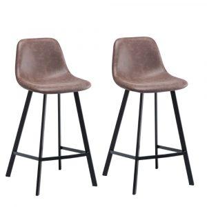 Maret barkrukken set van 2 bruin kunstlederen zitting metaal frame met rugleuning zithoogte 65cm