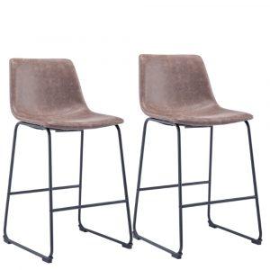 Sallo barkrukken zithoogte 80cm bruin kunstlederen zitting met rugleuning en metaal frame set van 2
