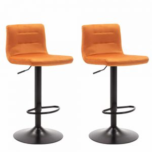 Barkrukken met rugleuning Holst oranje velours zitting en zwart gelakt metaal frame in hoogte verstelbaar set van 2