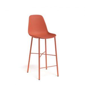 Barkruk BarCloë oranje polypropylene zitting met rugleuning metaal onderstel zithoogte 65cm/80cm