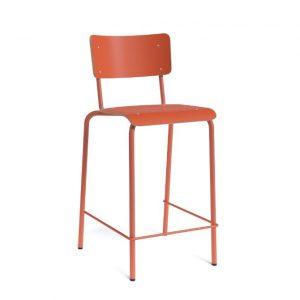 Barkruk BarCollege zithoogte 65 cm oranje HPL zitting metaal onderstel met rugleuning