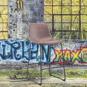 Barkruk Sallo bruin zithoogte 65cm kunstlederen zitting met rugleuning metaal onderstel