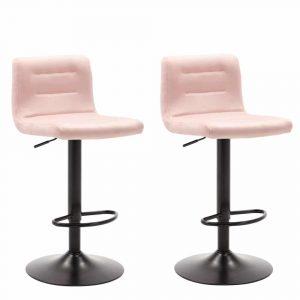 Barkrukken in hoogte verstelbaar Holst roze velours bekleding en zwart gelakt metaal frame met rugleuning set van 2