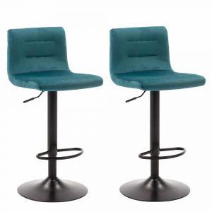 Barkrukken met rugleuning Holst blauw velours zitting en zwart gelakt metaal frame in hoogte verstelbaar set van 2