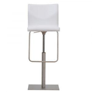 Barkruk Venezia wit tuigleren zitting met rugleuning RVS frame in hoogte verstelbaar met gasveer