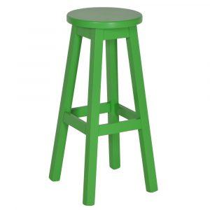 Mike barkruk vaste zithoogte 80cm groen beukenhout onderstel houten zitting