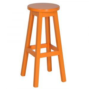 Mike barkruk zonder rugleuning zithoogte 80cm oranje beukenhout