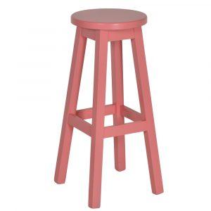 Mike barkruk vaste zithoogte 80cm roze beuken hout frame houten zitting