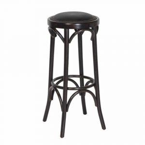 Paris barkruk met zwart kunstleder gestoffeerd met nagels en beukenhout onderstel vaste zithoogte 80cm