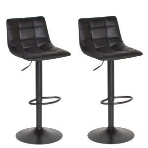 Barkrukken in hoogte verstelbaar met rugleuning Casoria zwart-zwart kunstlederen zitting metaal frame set van 2