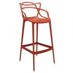 Masters by Kartell oranje barkruk met rugleuning vaste zithoogte 65cm